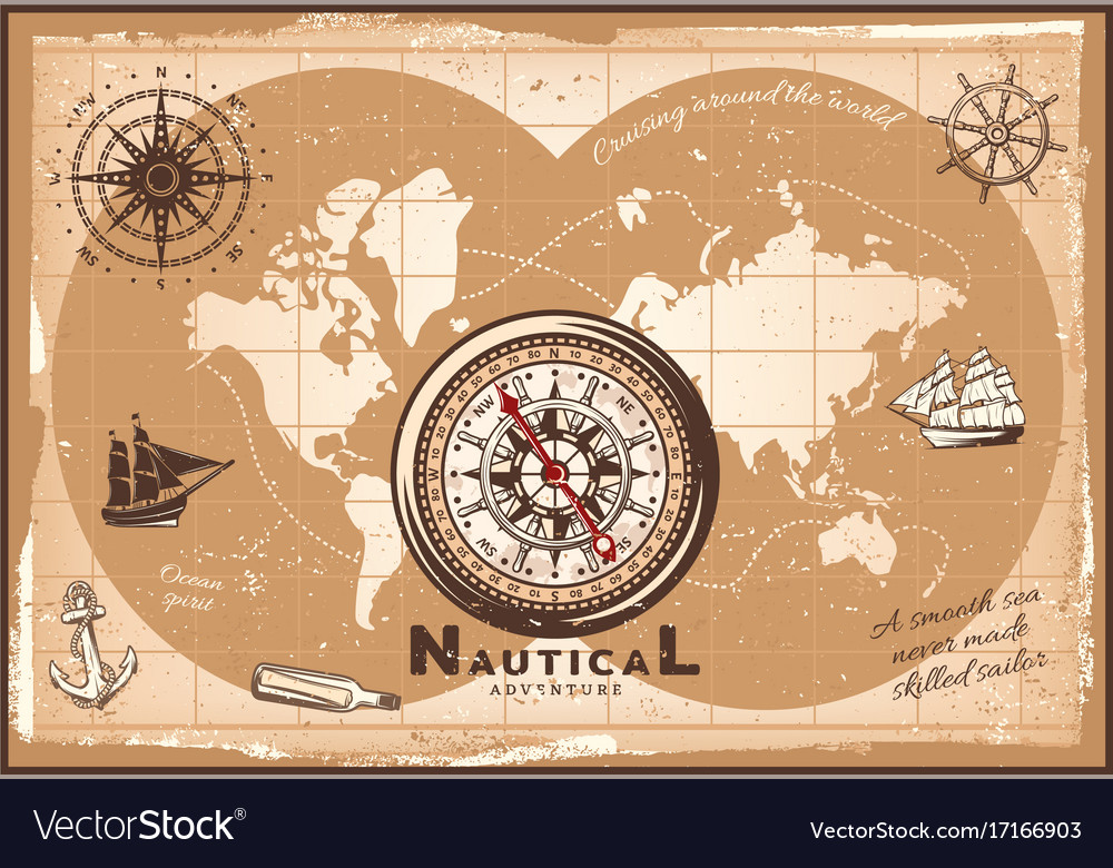 Vintage nautical world map template royalty free vector vintage nautical world map template vector image gumiabroncs Choice Image