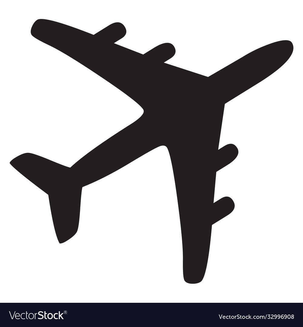 Airplane black icon vector