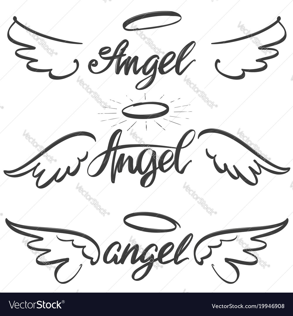 Angel wings icon sketch collection religious