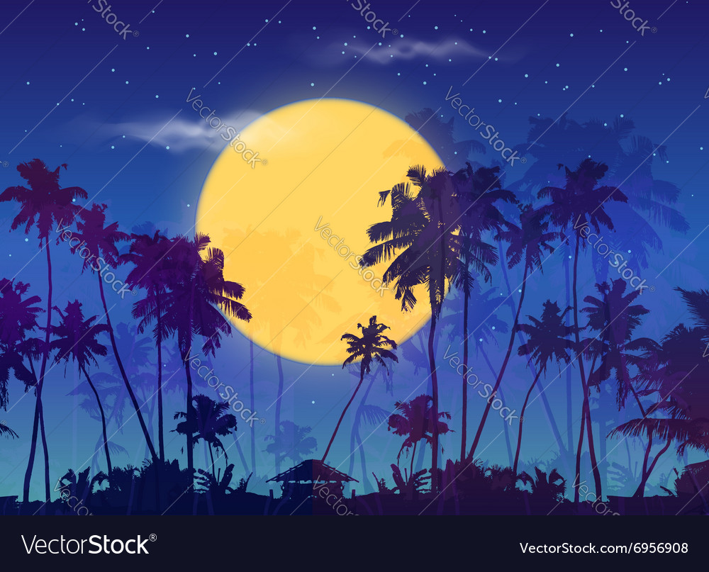Big yellow moon with dark palms silhouettes on