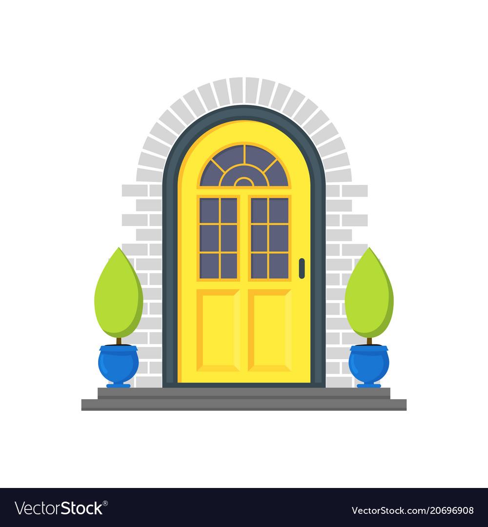 Cartoon Yellow Front Door Of House Royalty Free Vector Image