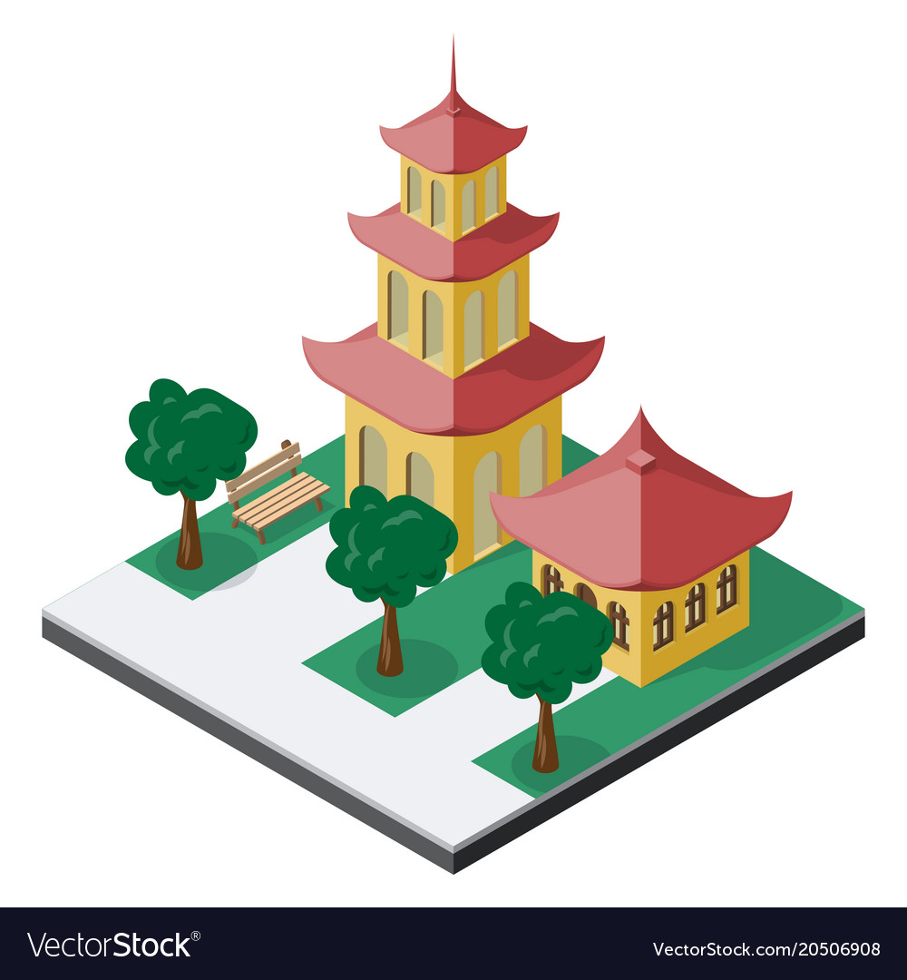 Chinese pagoda buildings with trees and bench in
