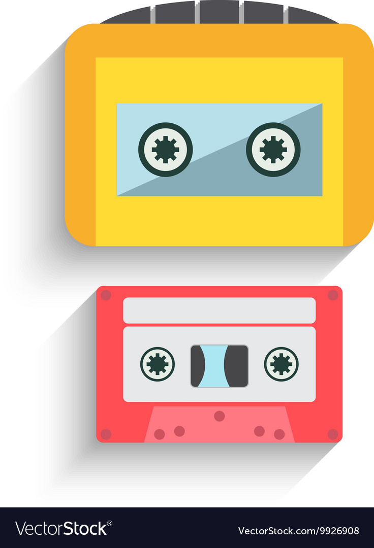 Colorful Cassette Tape Collection isolated on a
