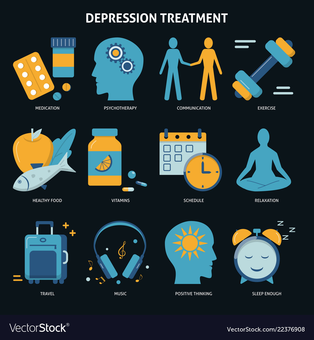 Depression treatment concept icons set in flat