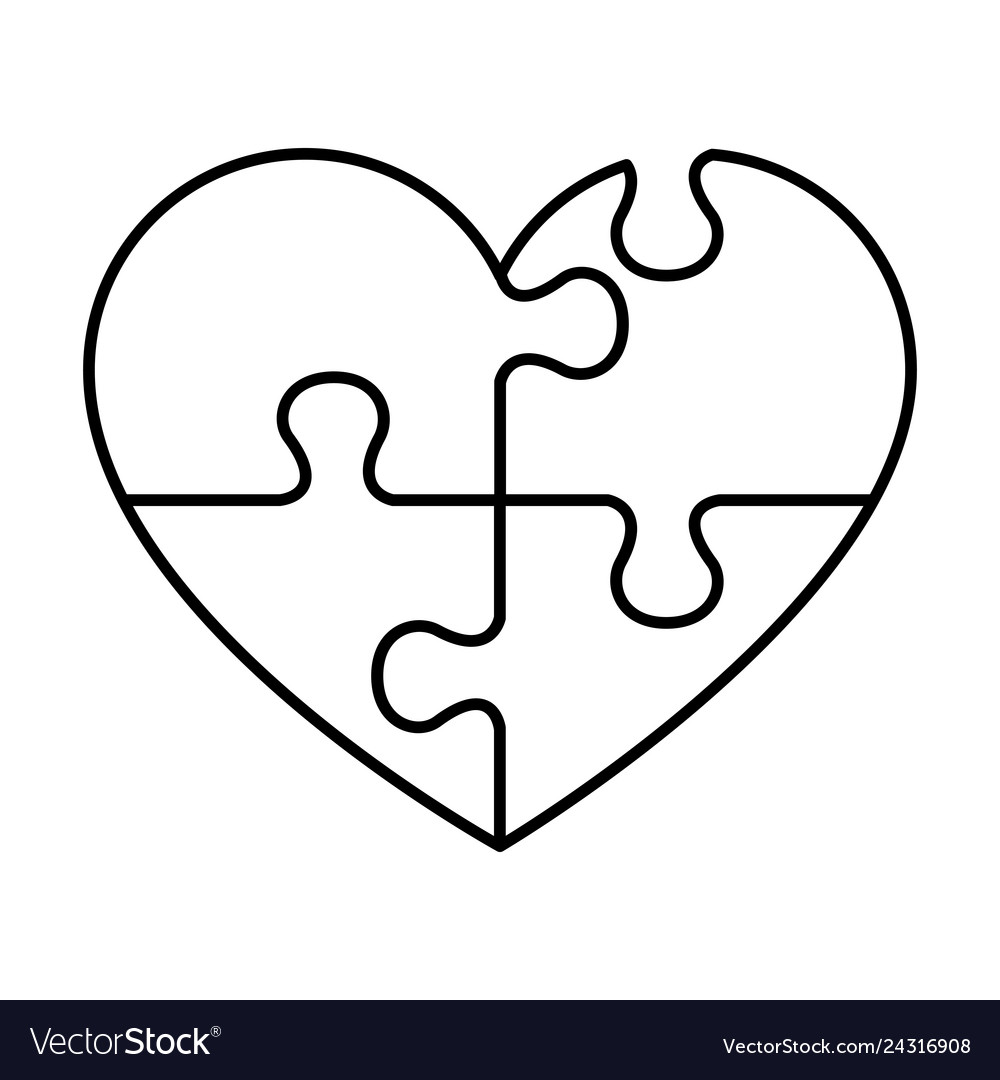 Heart with puzzle pieces Royalty Free Vector Image