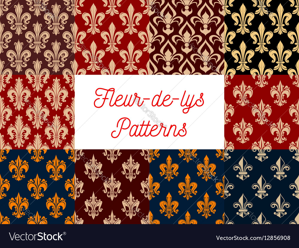 Heraldic set of french fleur-de-lis patterns