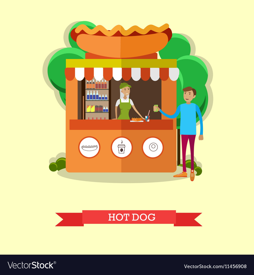 Hot dog stand concept poster City street