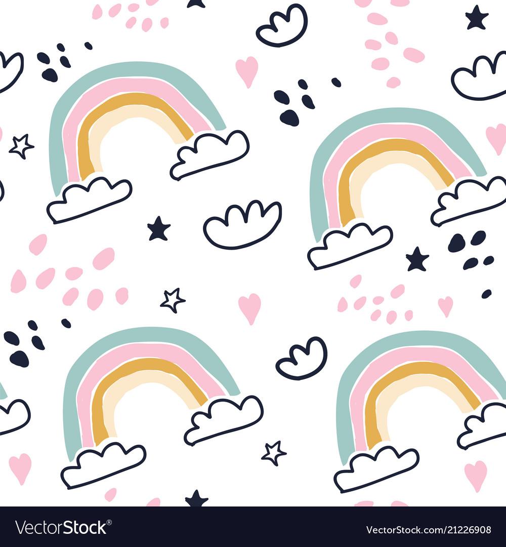 Kids hand drawn seamless pattern with rainbows