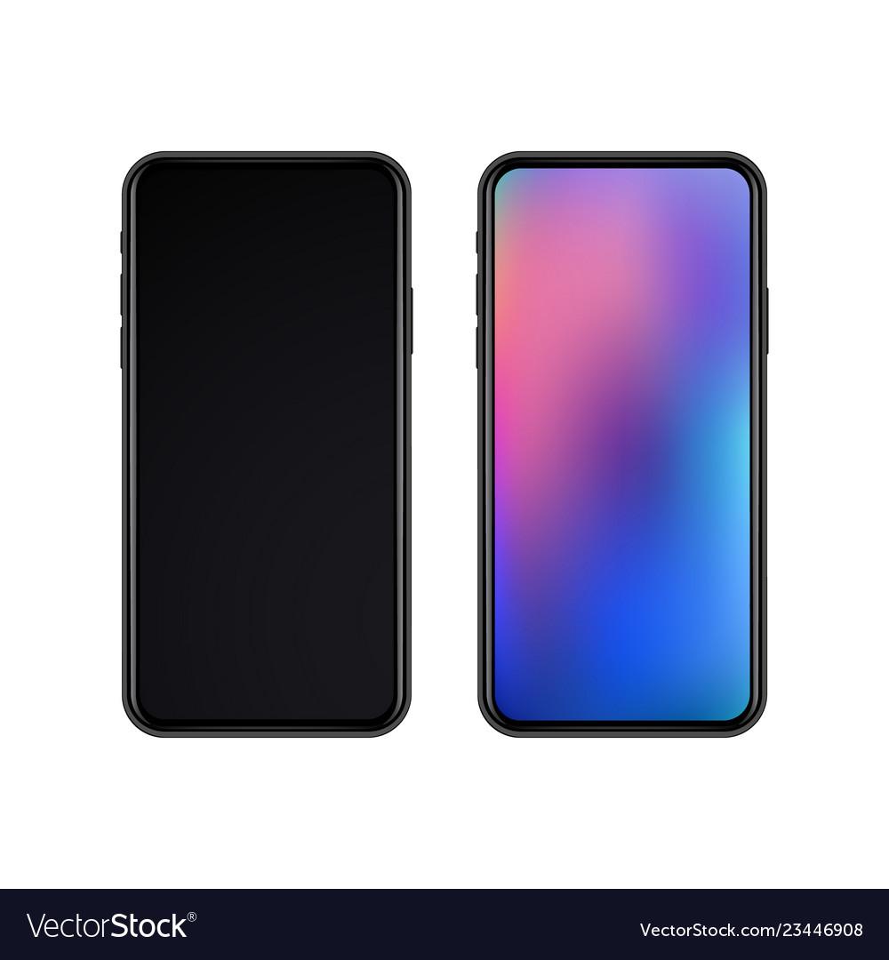 Realistic slim black smartphones