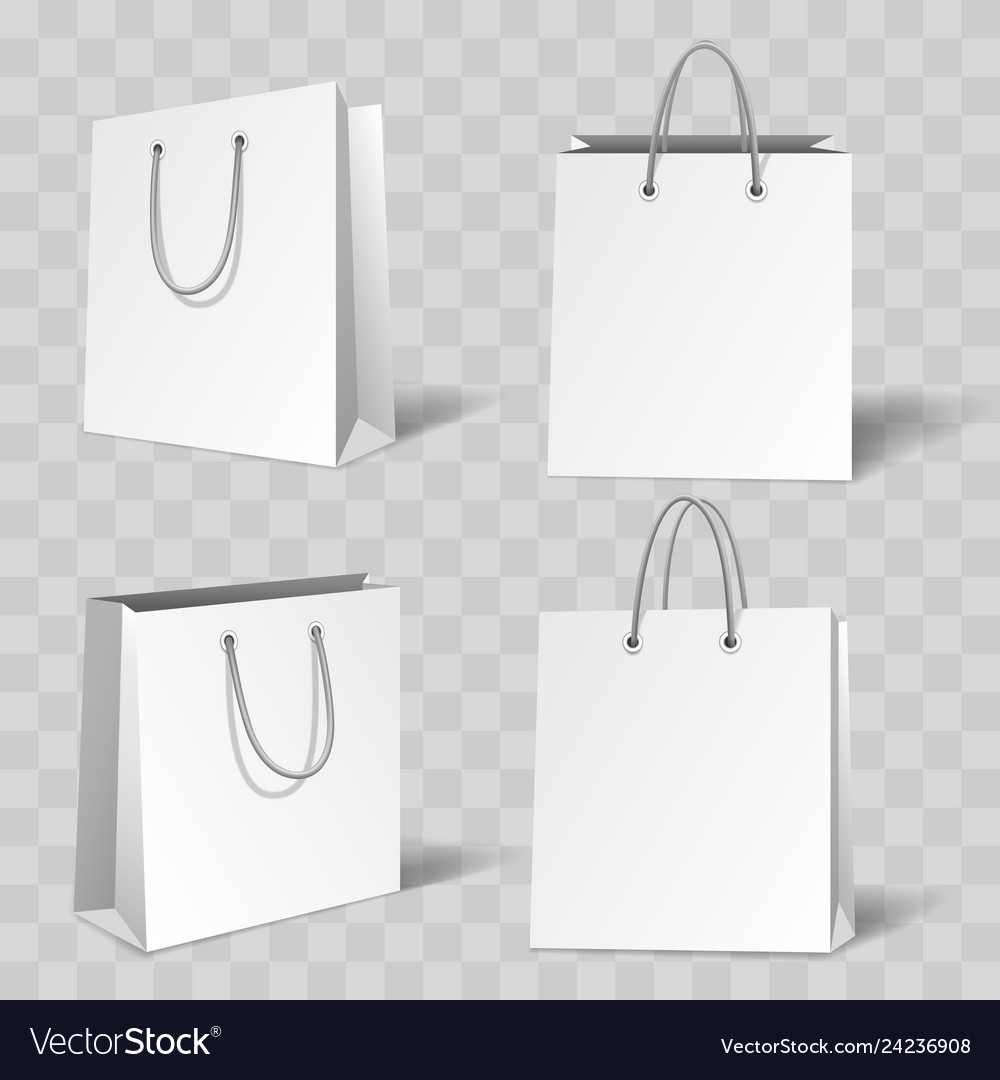 Realistic white paper bag mockup