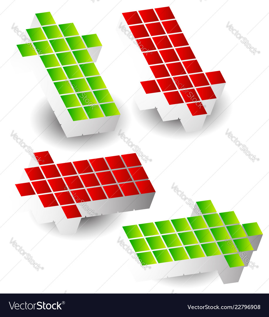 Set of 4 arrow pointing left right up down 3d