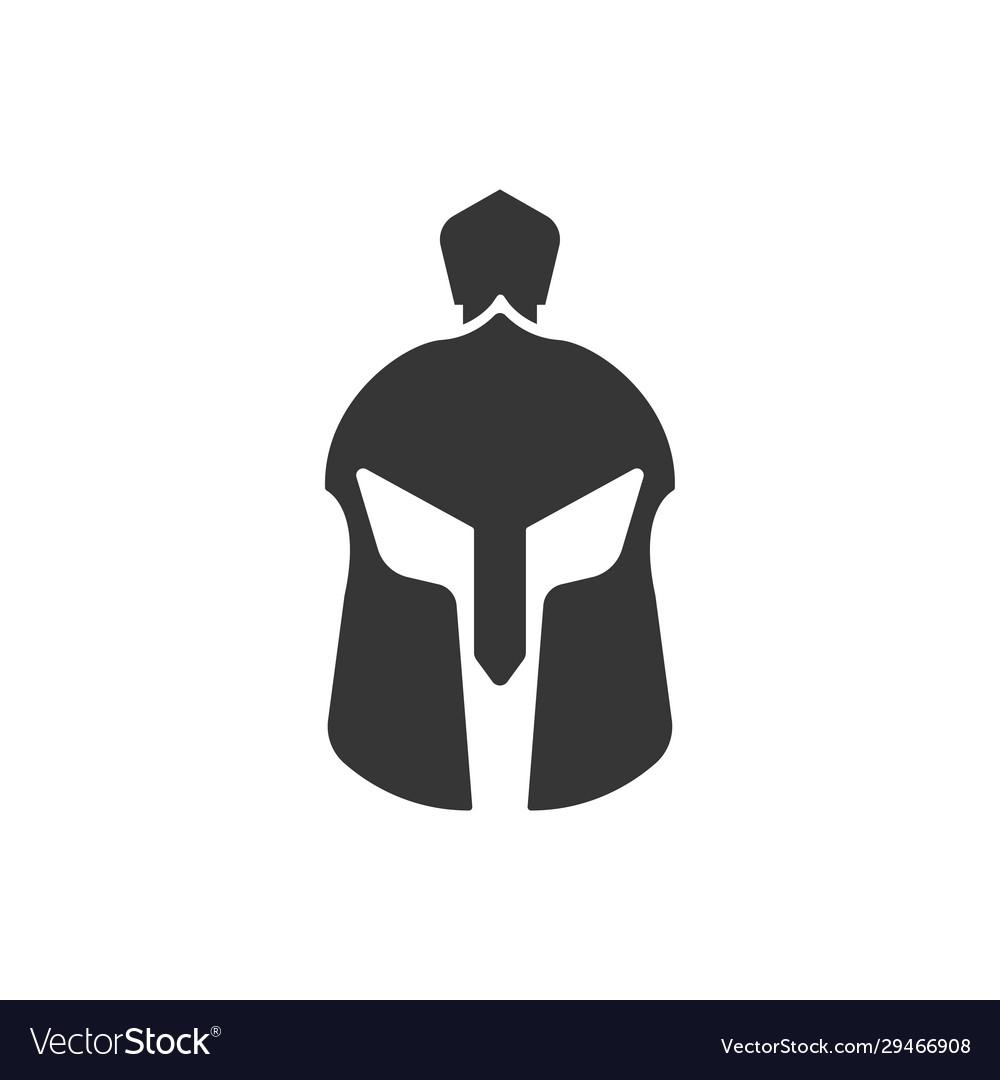 Spartan helmet icon design template isolated