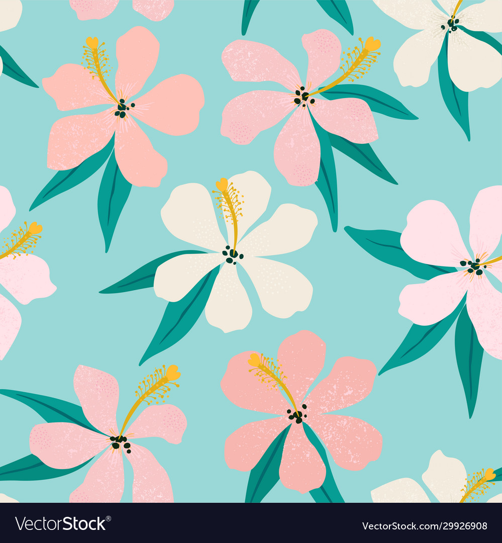 Tropical flowers and palm leaves on background
