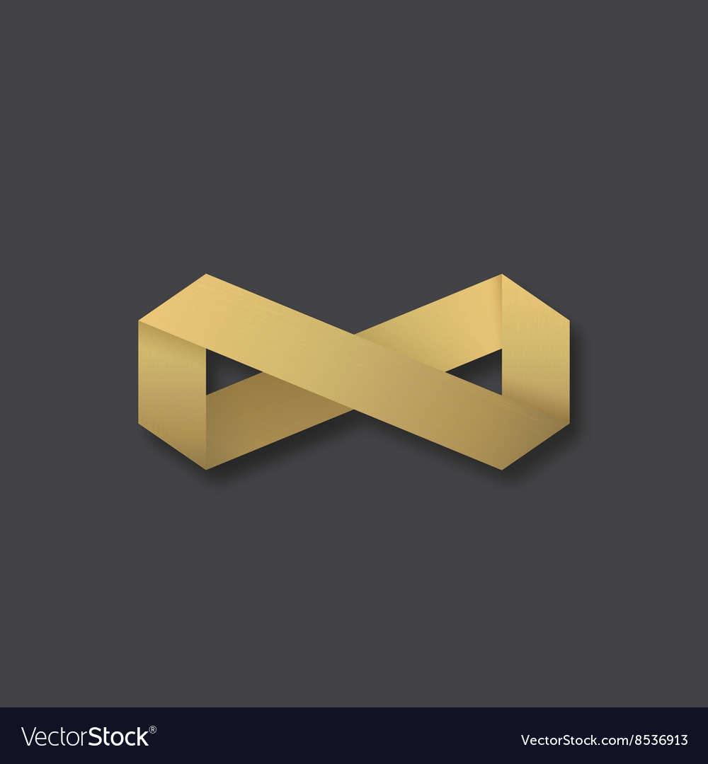 Abstract Golden Infinity Sign Symbol Or Royalty Free Vector