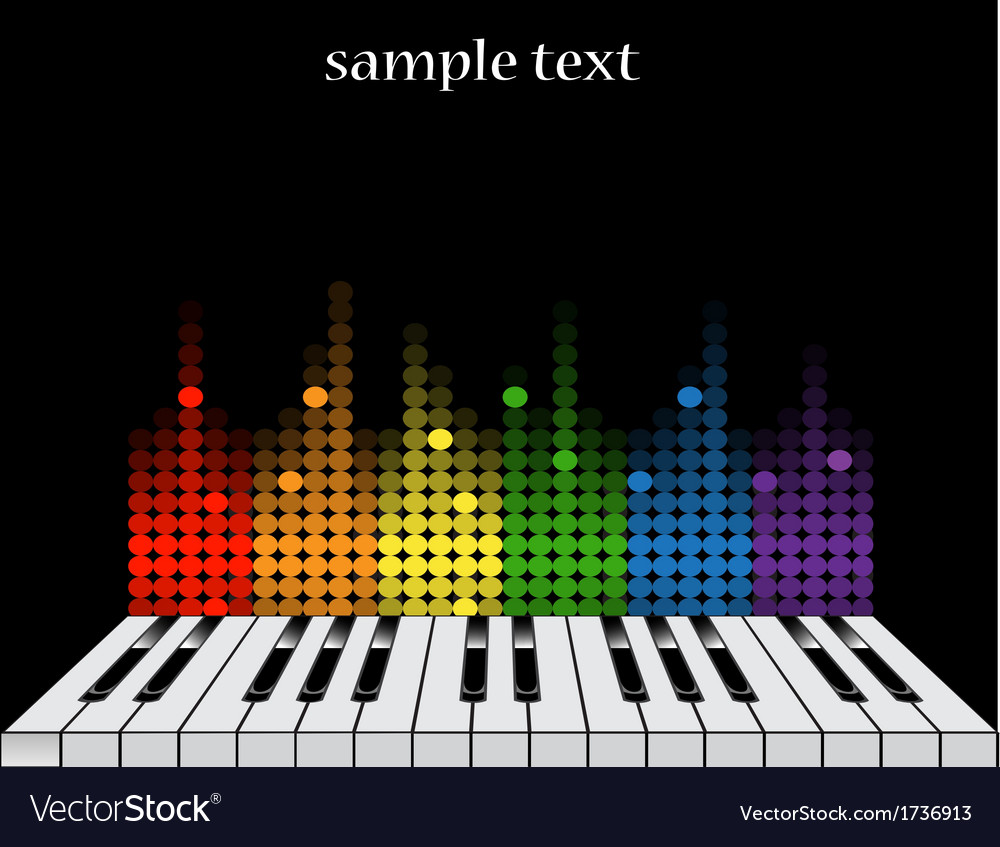 Background with piano keys and colorful equalizer