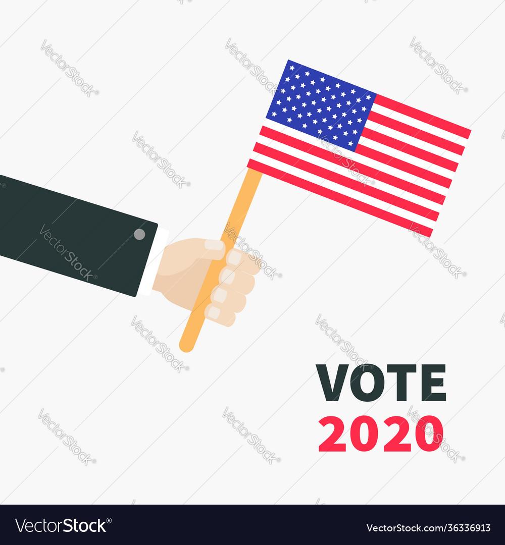 Businessman hand holding american flag president