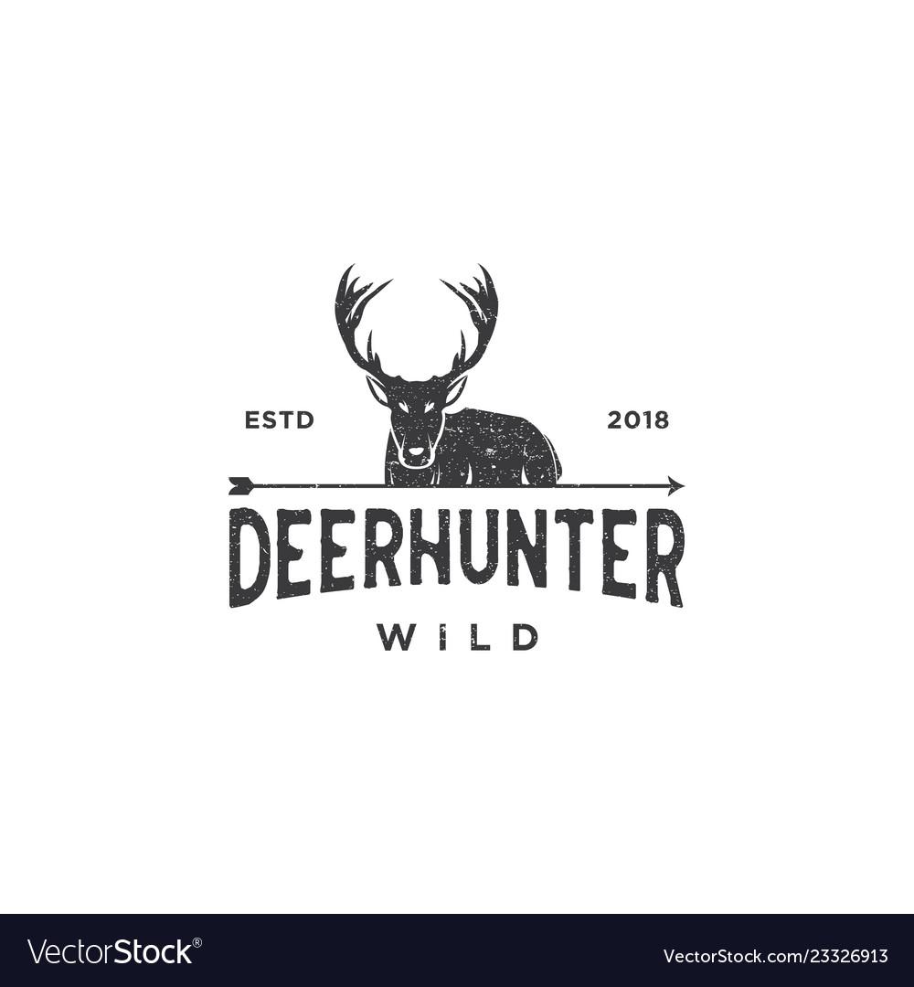Deer hunt logo template elegant deer head logo