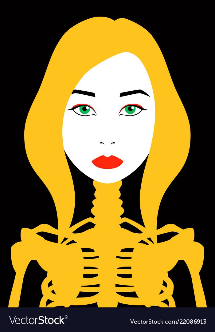 Female portrait and skeleton flat art
