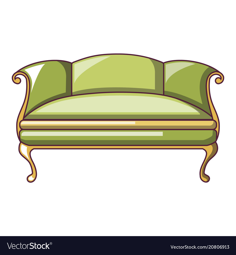 Green Sofa Icon Cartoon Style Royalty Free Vector Image