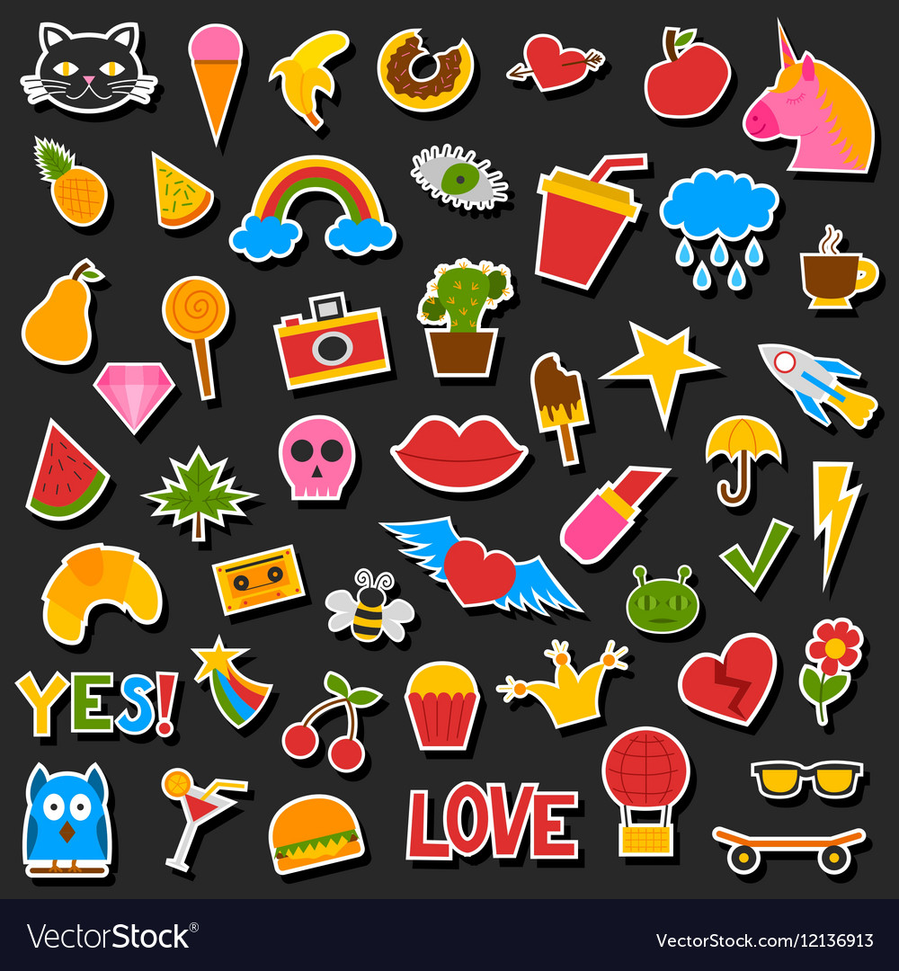 Hipster patches set vector image