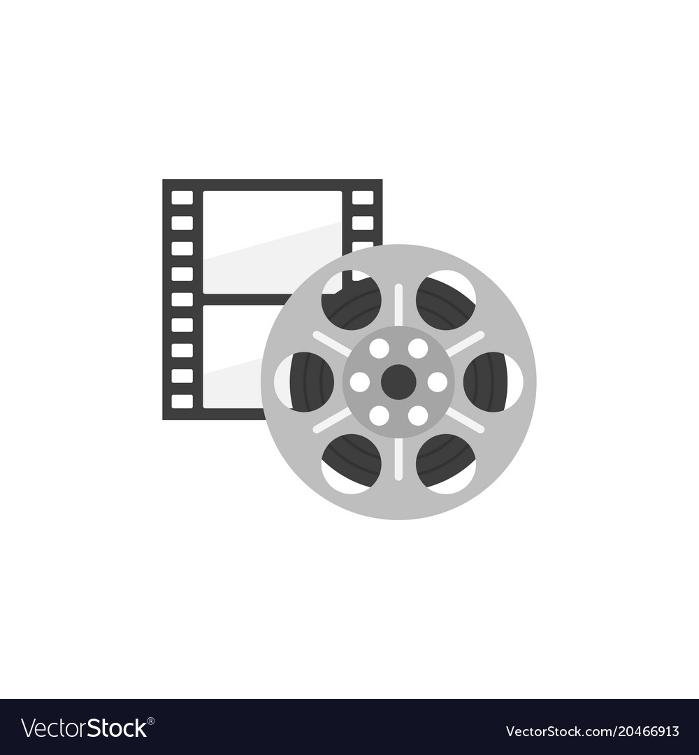 Icon of film strip and reel in flat style