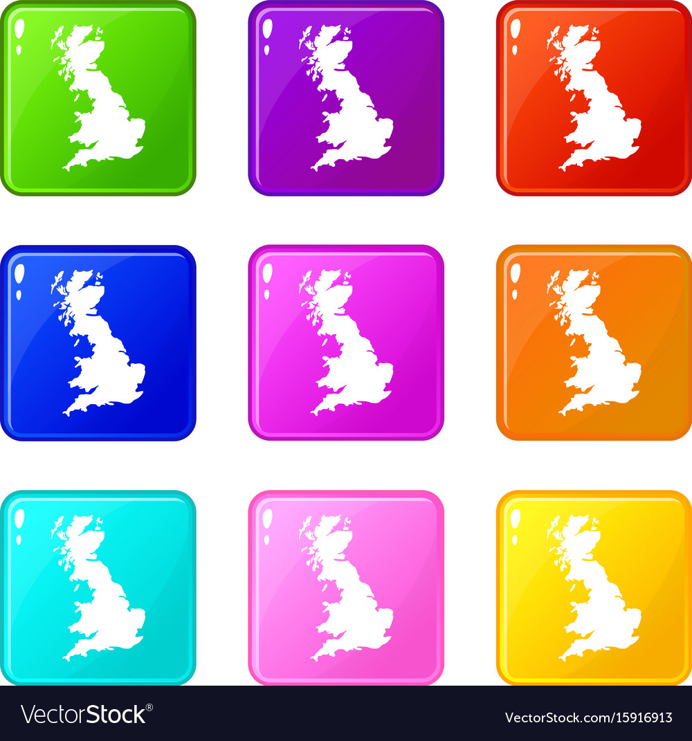 map of great britain icons 9 set royalty free vector image
