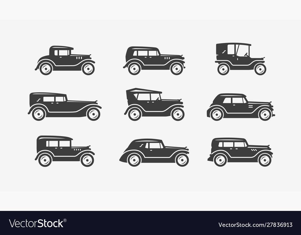 Retro cars icon set transport transportation