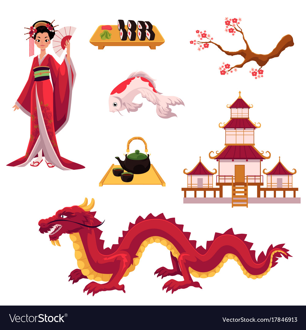 Set of cartoon japanese culture elements symbols vector image