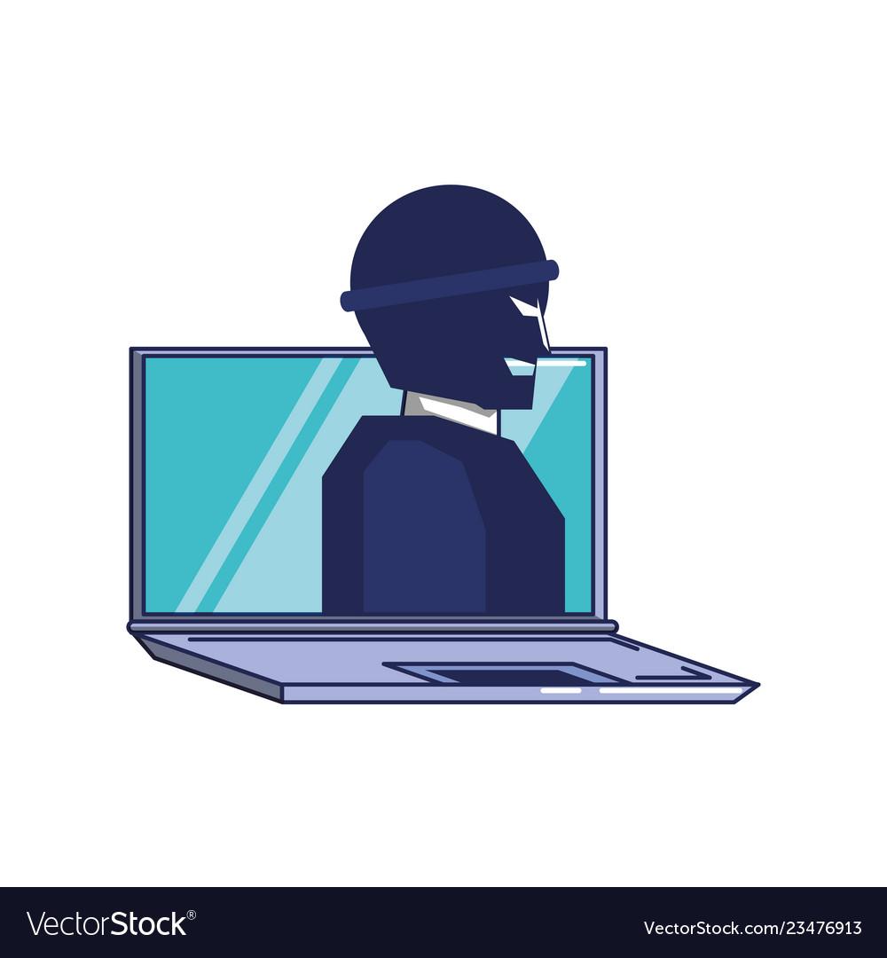 Thief man in laptop computer