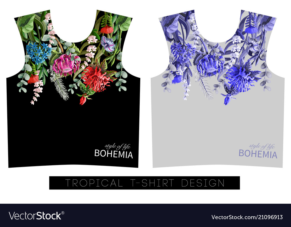 Two print for t-shirt with tropical flowers