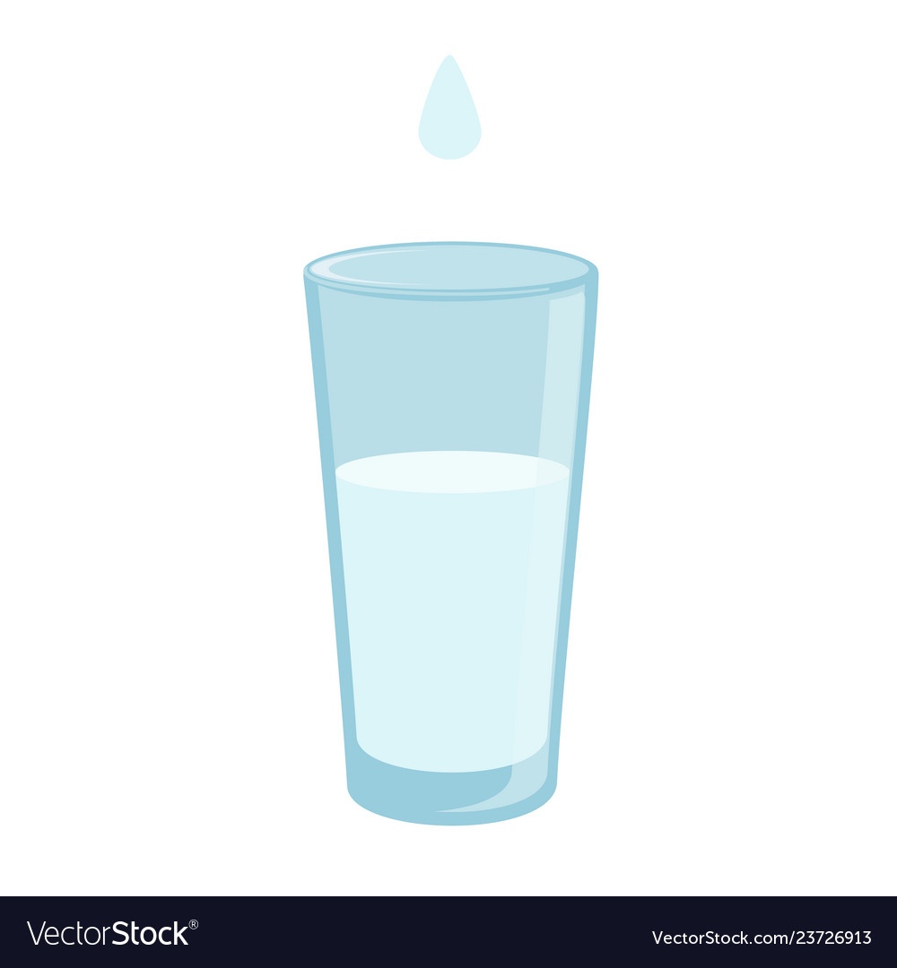 Water glass with dop icon in flat style soda