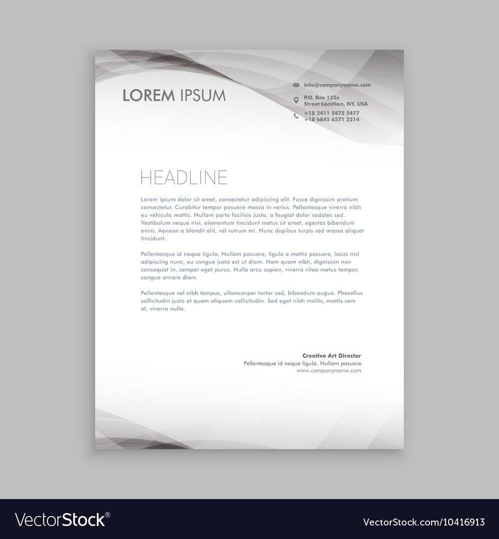 Wave style business letterhead design vector image