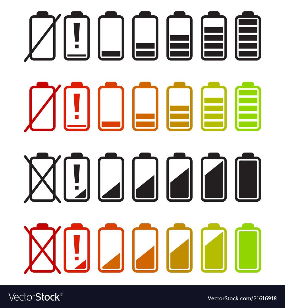 Battery icons set charge level indicators