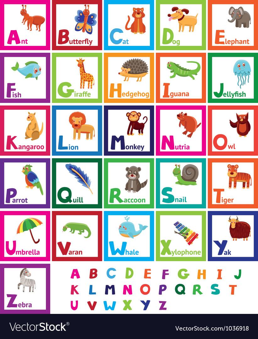 Cartoon alphabet with funny animals