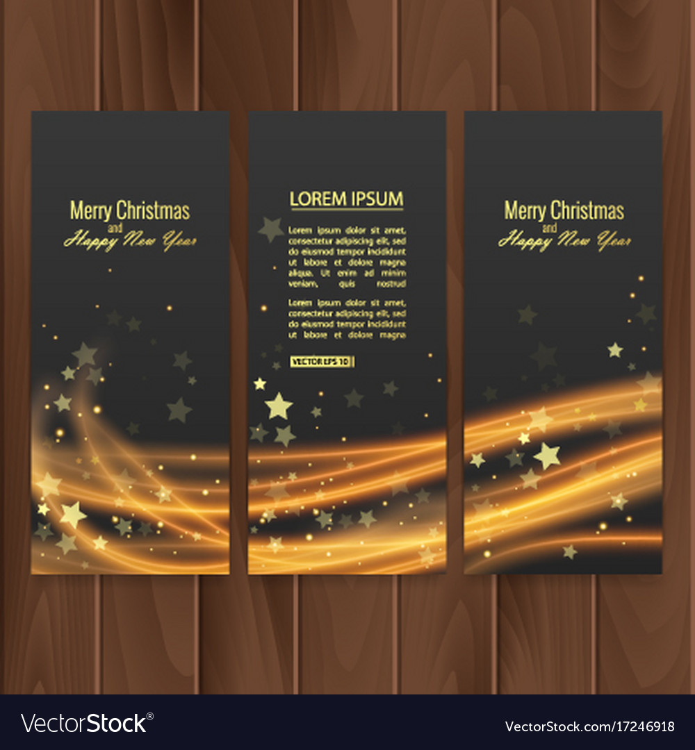 Christmas banners set on wood substrate vector image