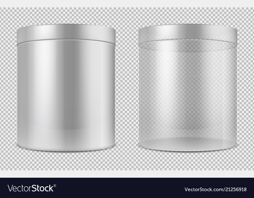Cylinder empty transparent glass and white cans