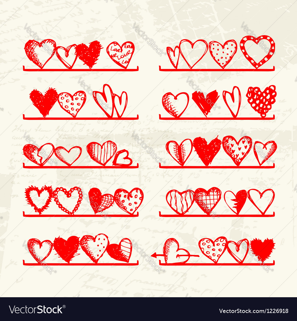 Funny hearts on shelves sketch drawing for your