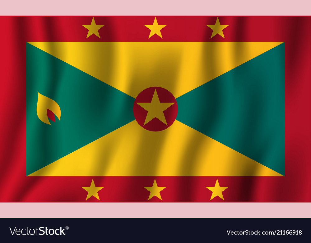 Grenada realistic waving flag national country