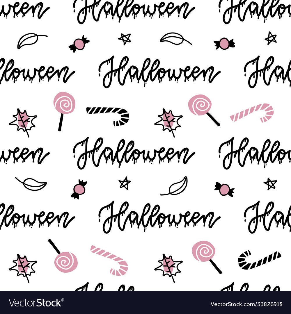 Halloween seamless pattern hand drawn with