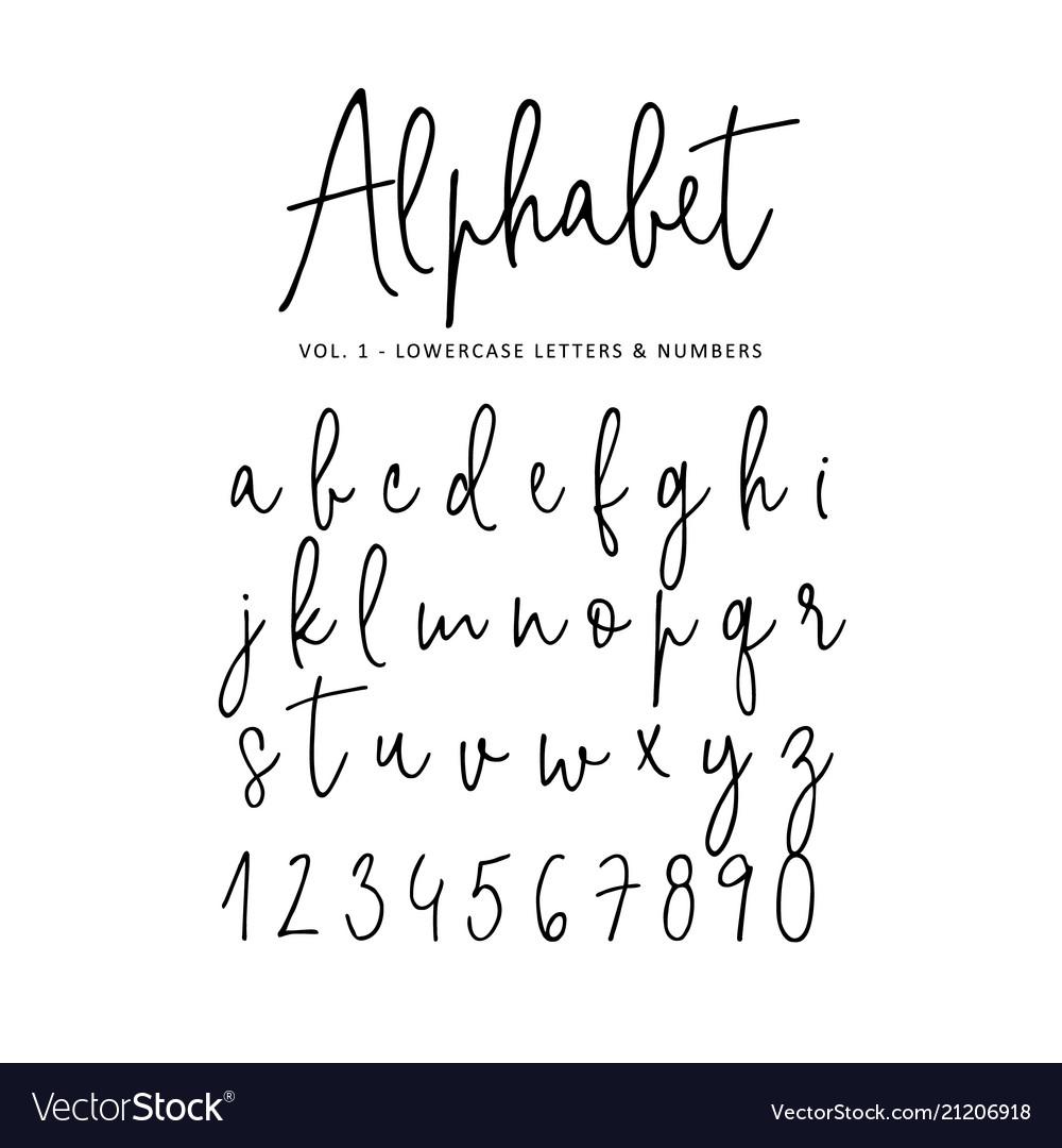 Hand drawn alphabet modern monoline
