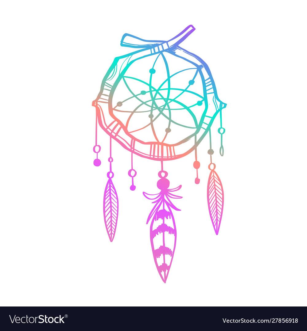 Magic indian dreamcatcher hand drawn