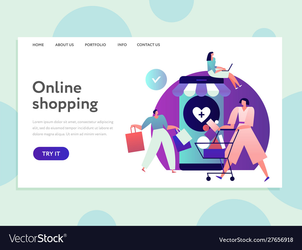 Online shopping landing internet purchasing and