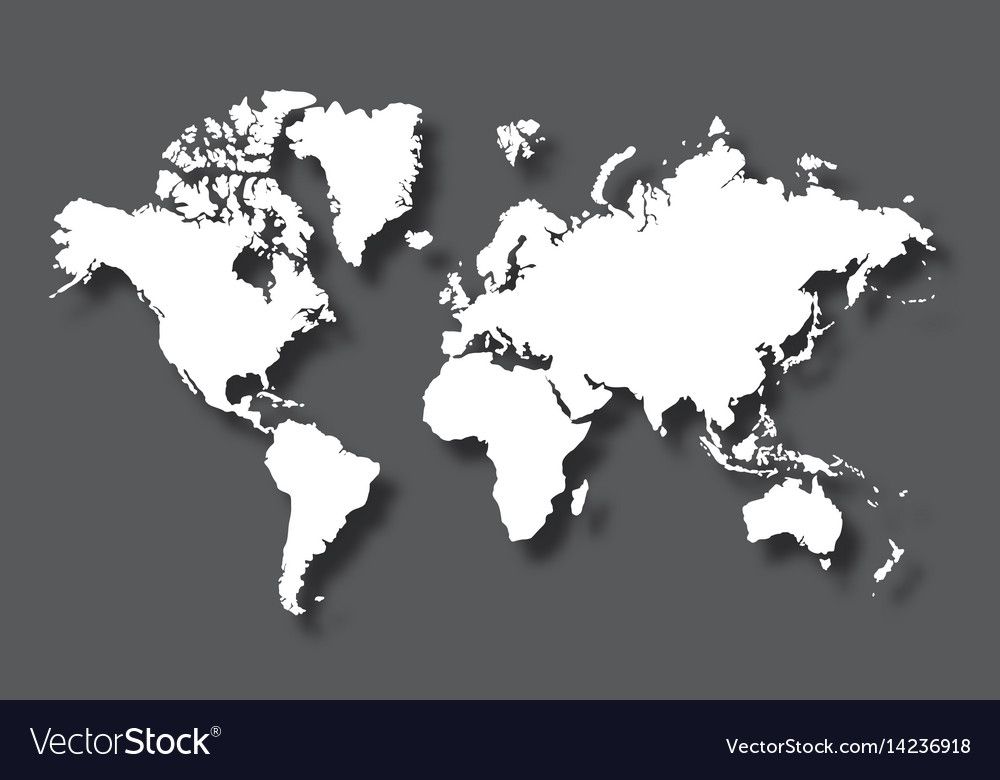 Political world map with shadow isolated on gray vector image