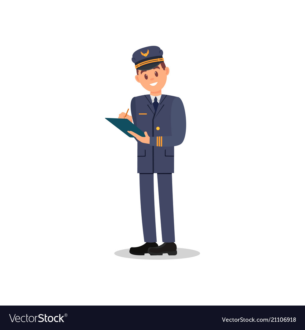 Professional pilot making notes to folder young