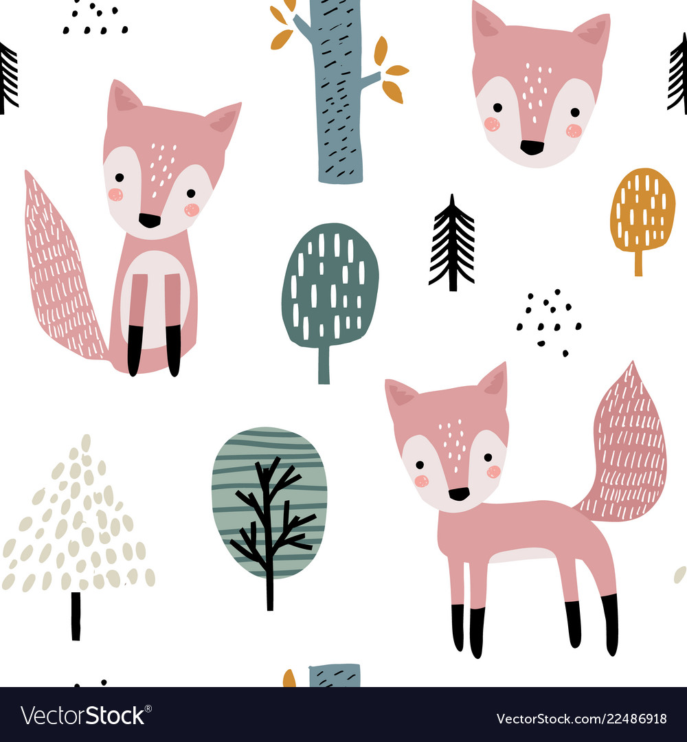Semless woodland pattern with cute foxes and hand