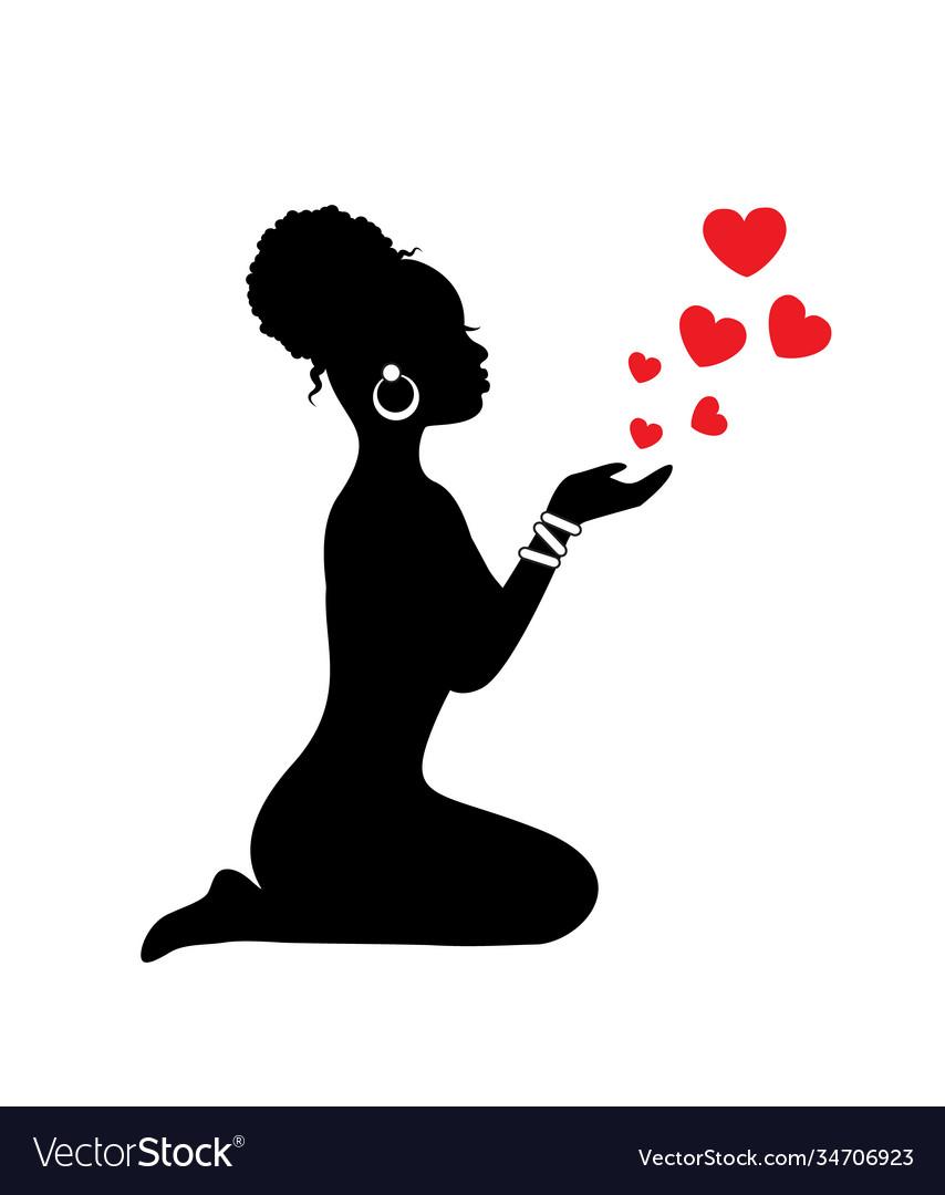 African woman sending hearts