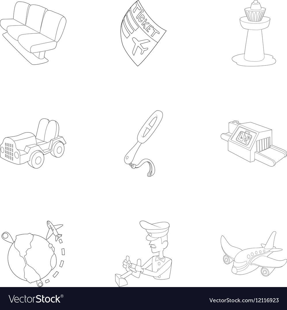 Arrive at airport icons set outline style vector image