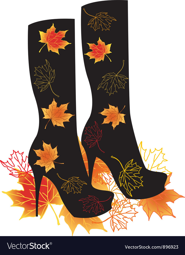 Autumn boots with maple leaves