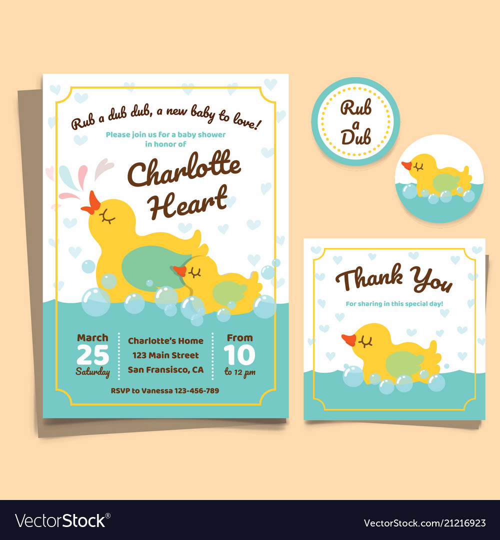 Baby shower invitation card with duck