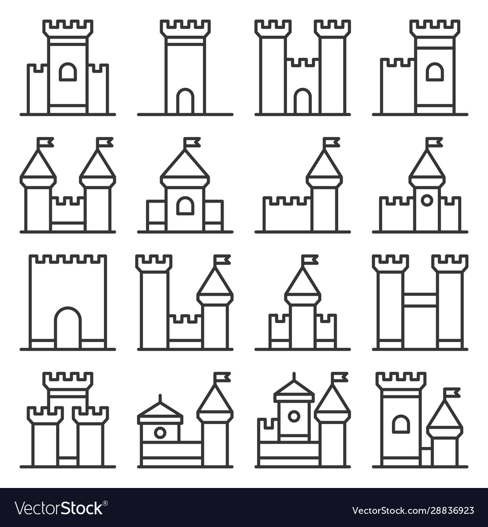 Castle icon line style set on white background